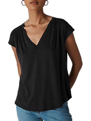 Whistles Cap Sleeve Top, Black