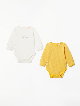 John Lewis & Partners Baby GOTS Organic Cotton Long Sleeve Bodysuits, Pack of 2, Yellow