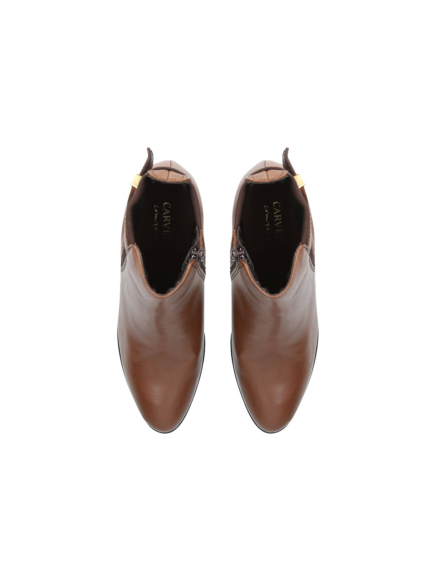 BuyCarvela Comfort Rae Cone Heeled Ankle Boots, Brown Leather, 3 Online at johnlewis.com