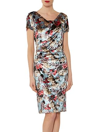 Gina Bacconi Polina Print Velvet Dress, Iced Blue/Multi