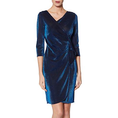 Image of Gina Bacconi Brita Metallic Jersey Dress, Royal Blue