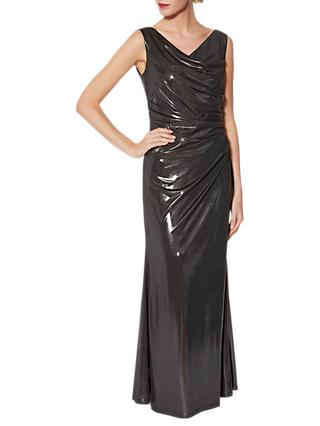 Gina Bacconi Kaia Empire Line Maxi Dress, Gunmetal