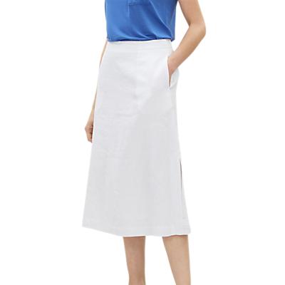 Jaeger Jersey Side Split Linen Midi Skirt, White