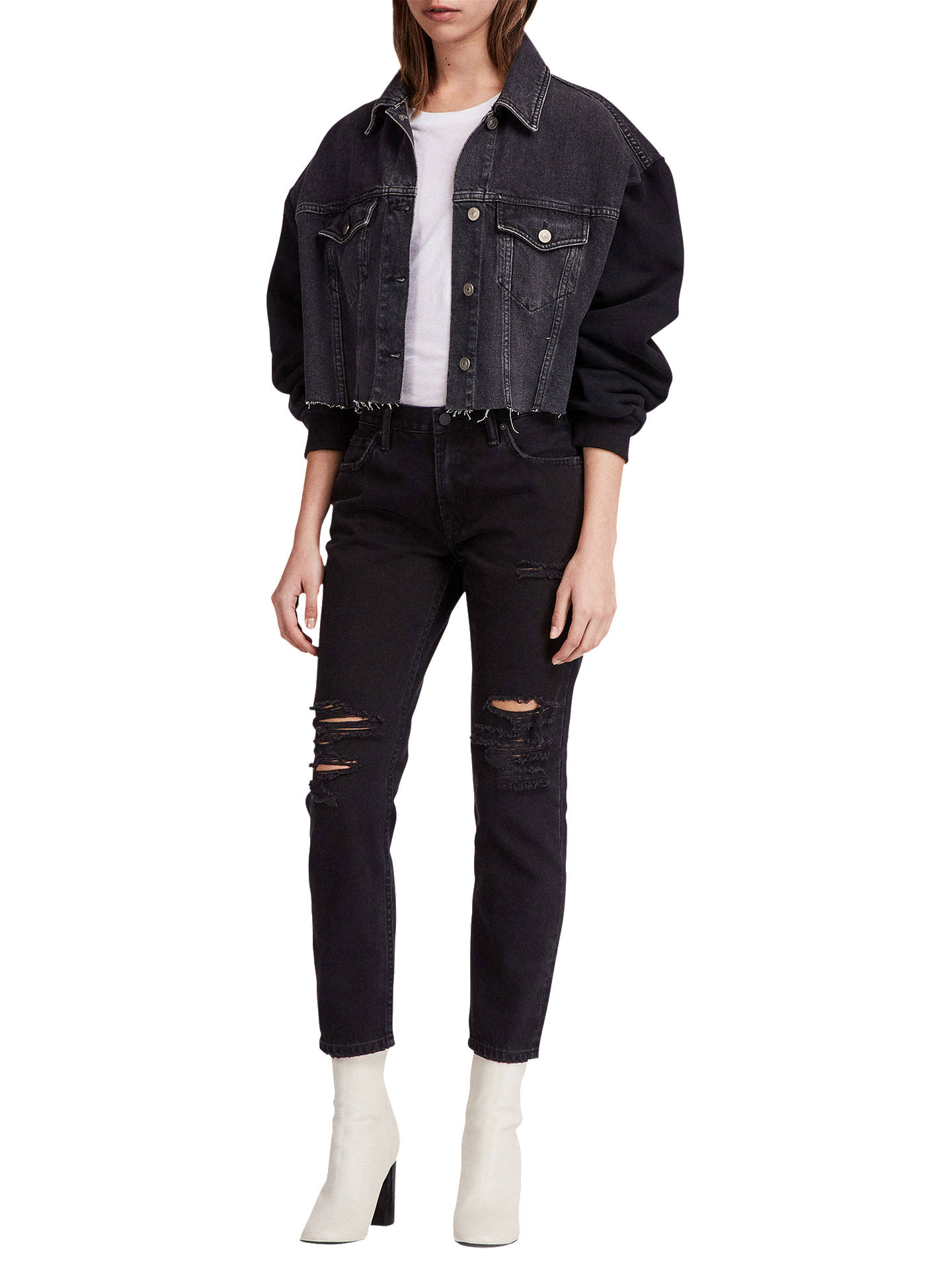 BuyAllSaints Anders Denim Jacket, Washed Black, XS-S Online at johnlewis.com