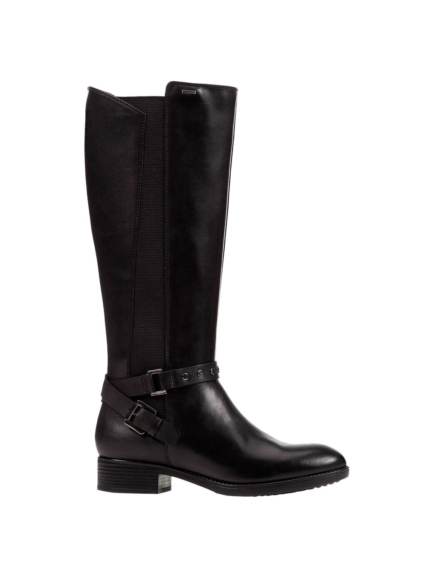 618601d568061 Buy Geox Women's Felicity Napa Block Heel Tall Boots, Black Leather, 4  Online at ...