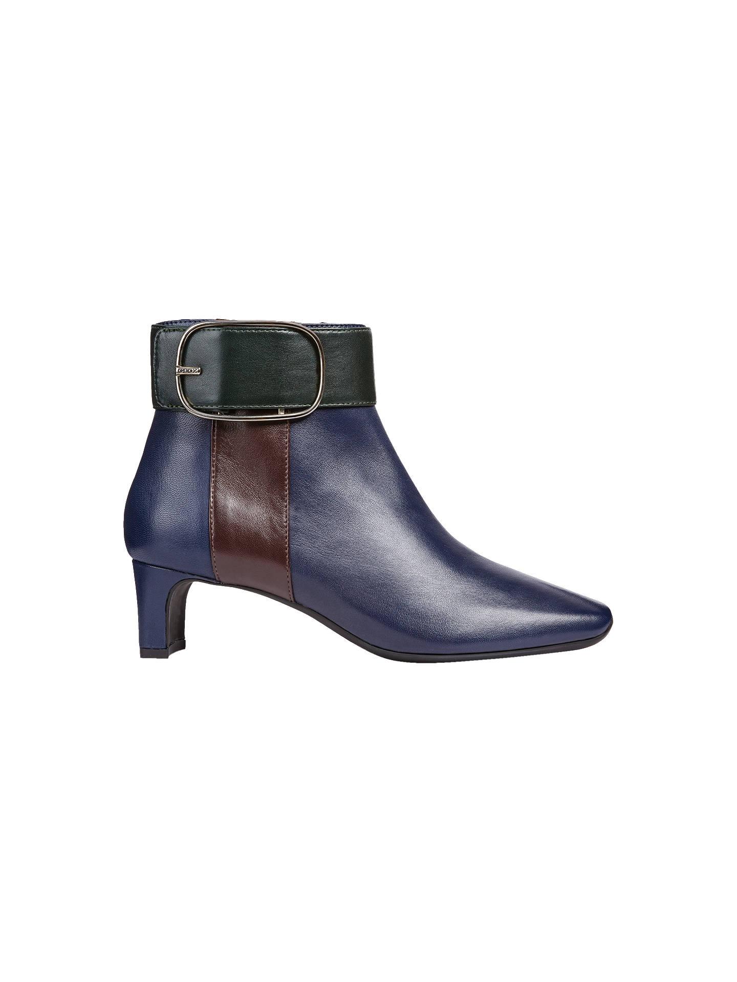 c4836ce97a Buy Geox Women's Vivyanne Block Heel Ankle Boots, Blue/Multi Leather, 4  Online ...