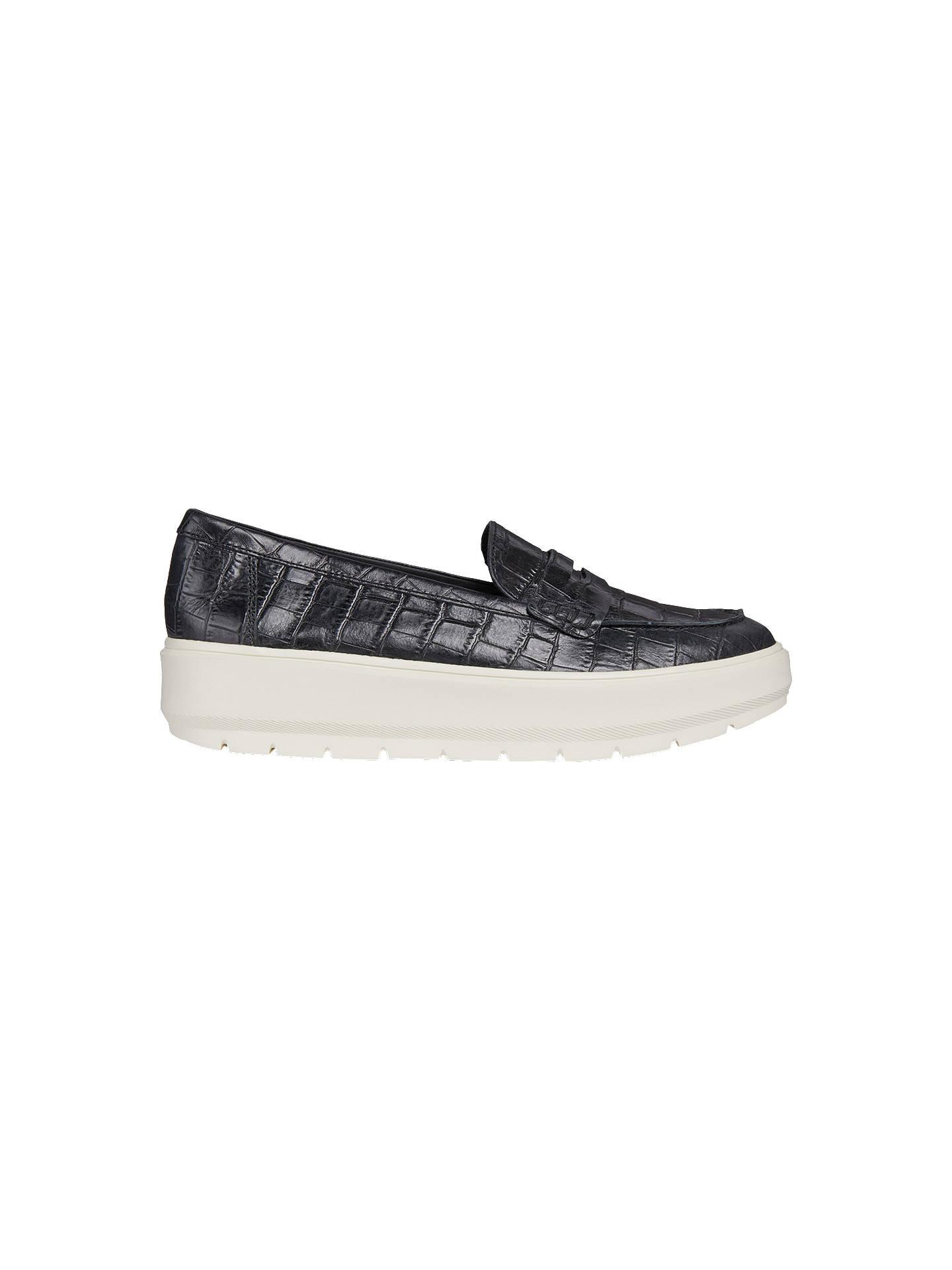 Ceder Integración usted está  Geox Kaula Slip On Flatform Loafers, Black Leather at John Lewis & Partners