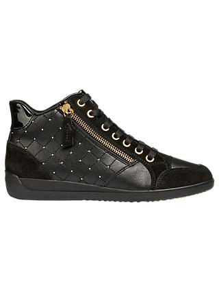 Geox Myria Zip Detail High Top Trainers, Black