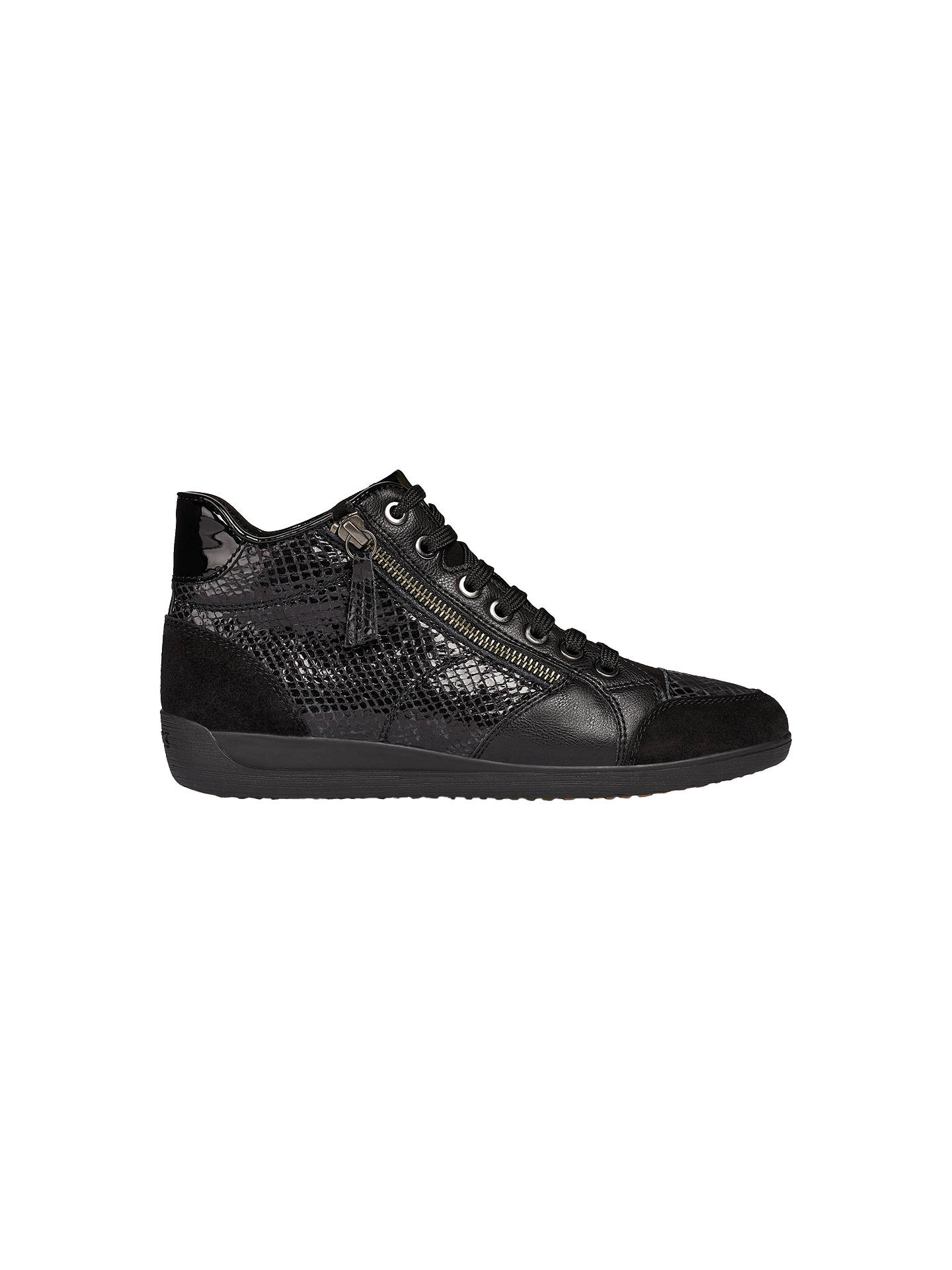 090467d2bd7 Buy Geox Women's Myria High Top Lace Up Trainers, Black Leather, 6 Online  at ...