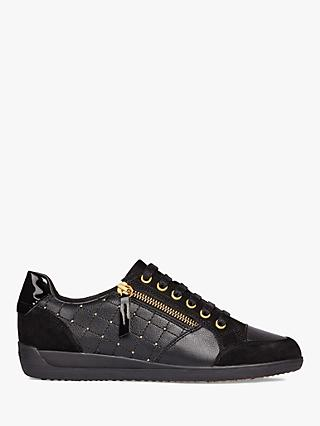 Geox Myria Zip Detail Trainers, Black/Gold