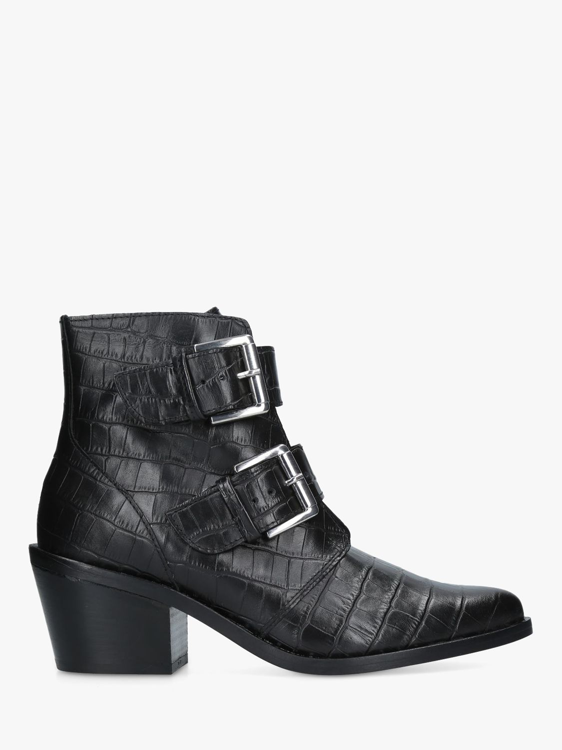 0739fbd3091c0 Kurt Geiger London Denny Double Buckle Ankle Boots, Black Leather at John  Lewis & Partners