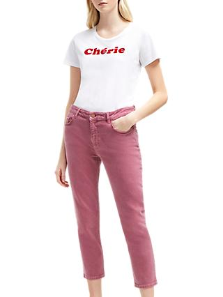 French Connection Antique Dye Ankle Grazer Jeans, Light Baked Cherry