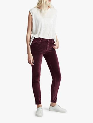 French Connection Velvet High Rise Skinny Jeans, Deep Framboise