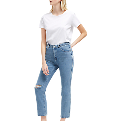 French Connection Straight Leg Distressed Jeans, Ripped Bleach