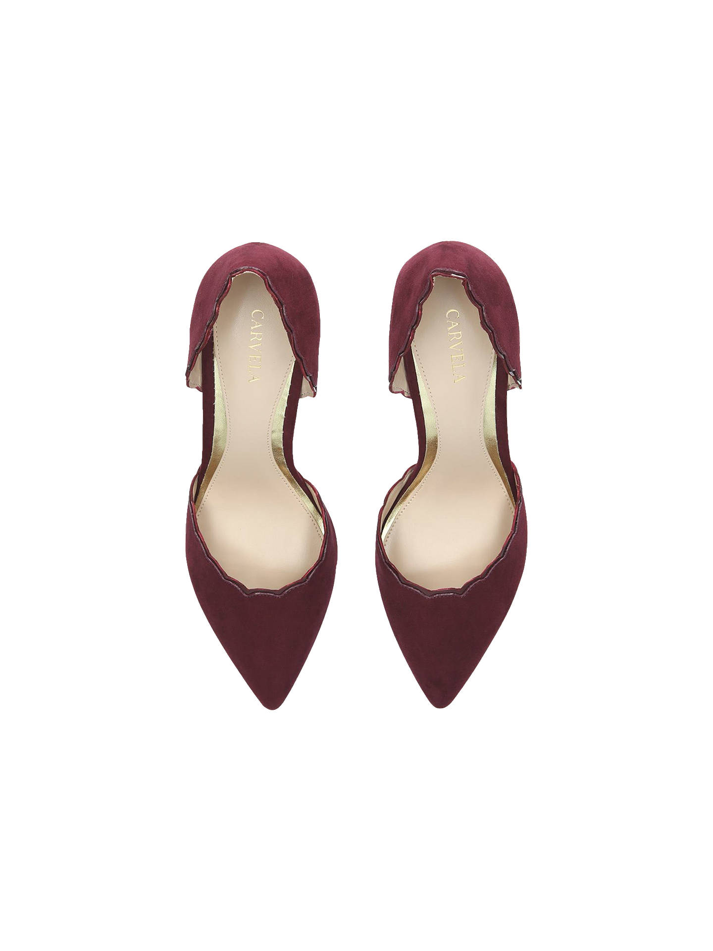 Buy Carvela Loving Scalloped Court Shoes, Red, 3 Online at johnlewis.com