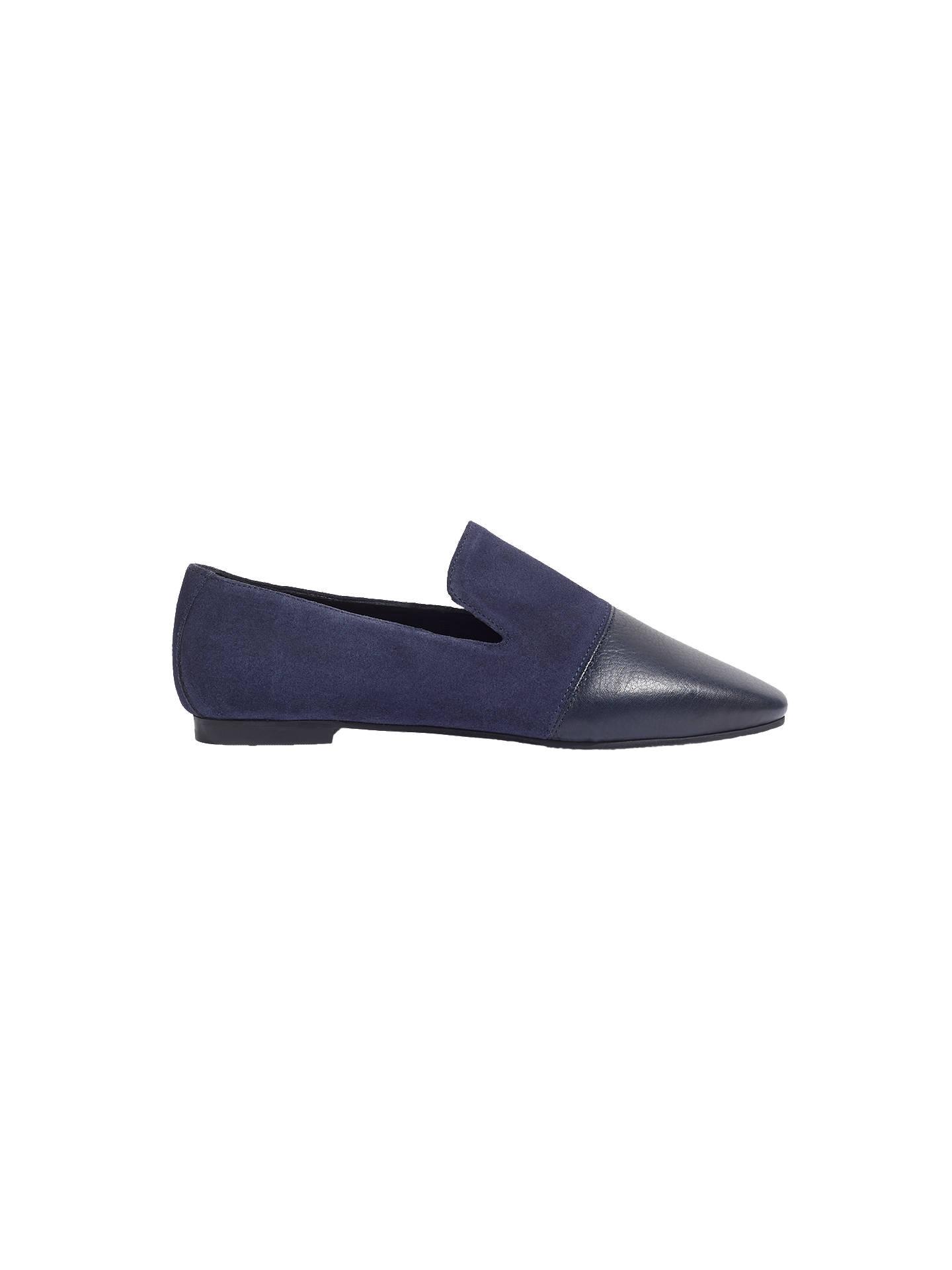 fd3e02fd66380 Buy Jigsaw Yuri Low Block Heel Loafers, Navy Leather, 7 Online at johnlewis.