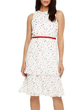 Phase Eight Florence Pleated Dress, Ivory Multi