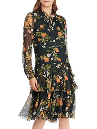 Lauren Ralph Lauren Raisa Floral Print Tie Neck Dress, Green/Multi