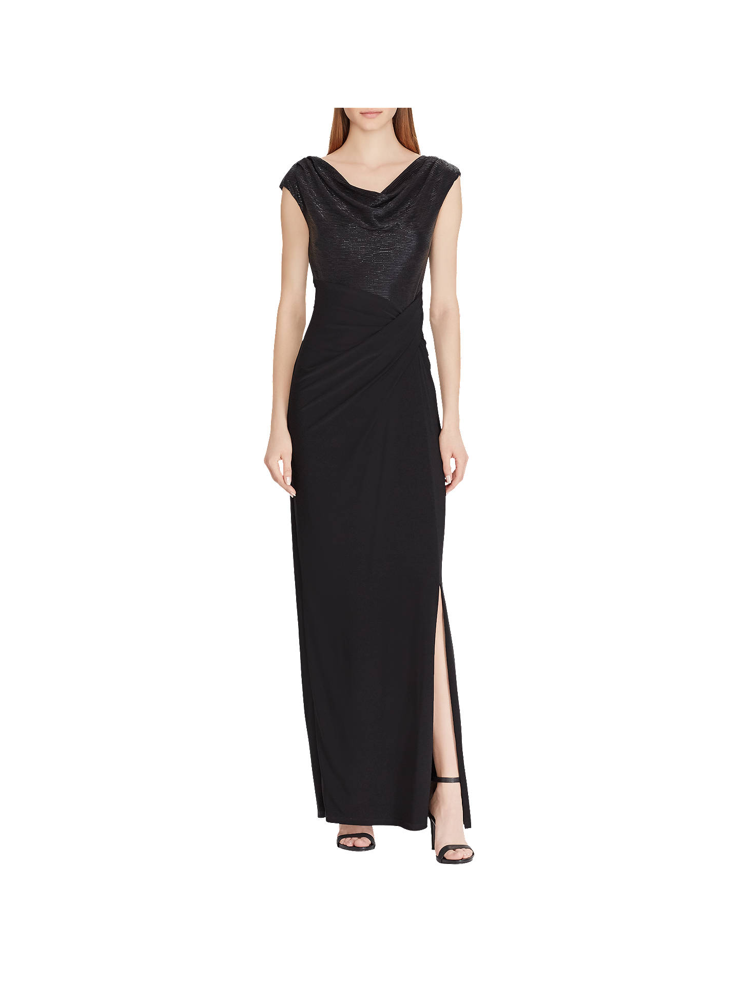f8c92d1b Buy Lauren Ralph Lauren Metallic Cap Sleeve Dress, Black, 10 Online at  johnlewis.
