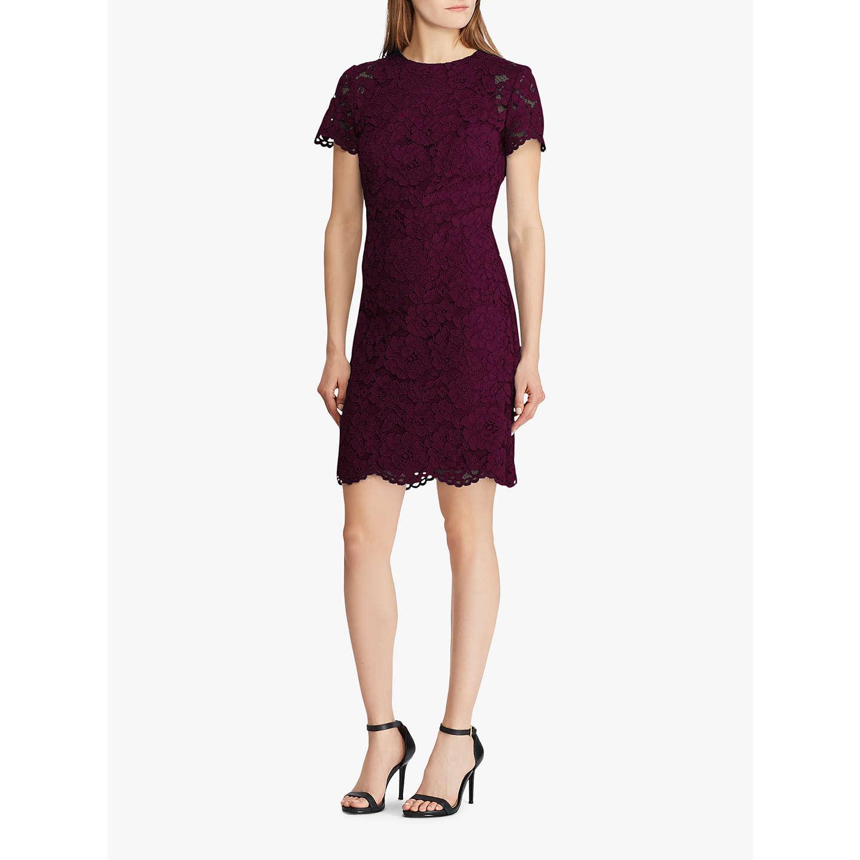 BuyLauren Ralph Lauren Blondie Lace Dress, Passion Plum, 6 Online at  johnlewis.com ...