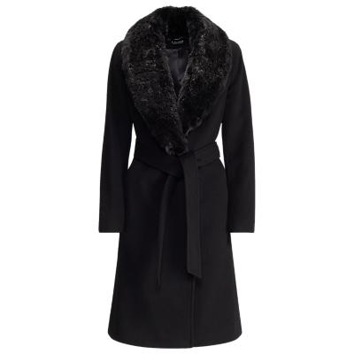 Lauren Ralph Lauren Faux Fur Collar Wool Blend Coat, Black