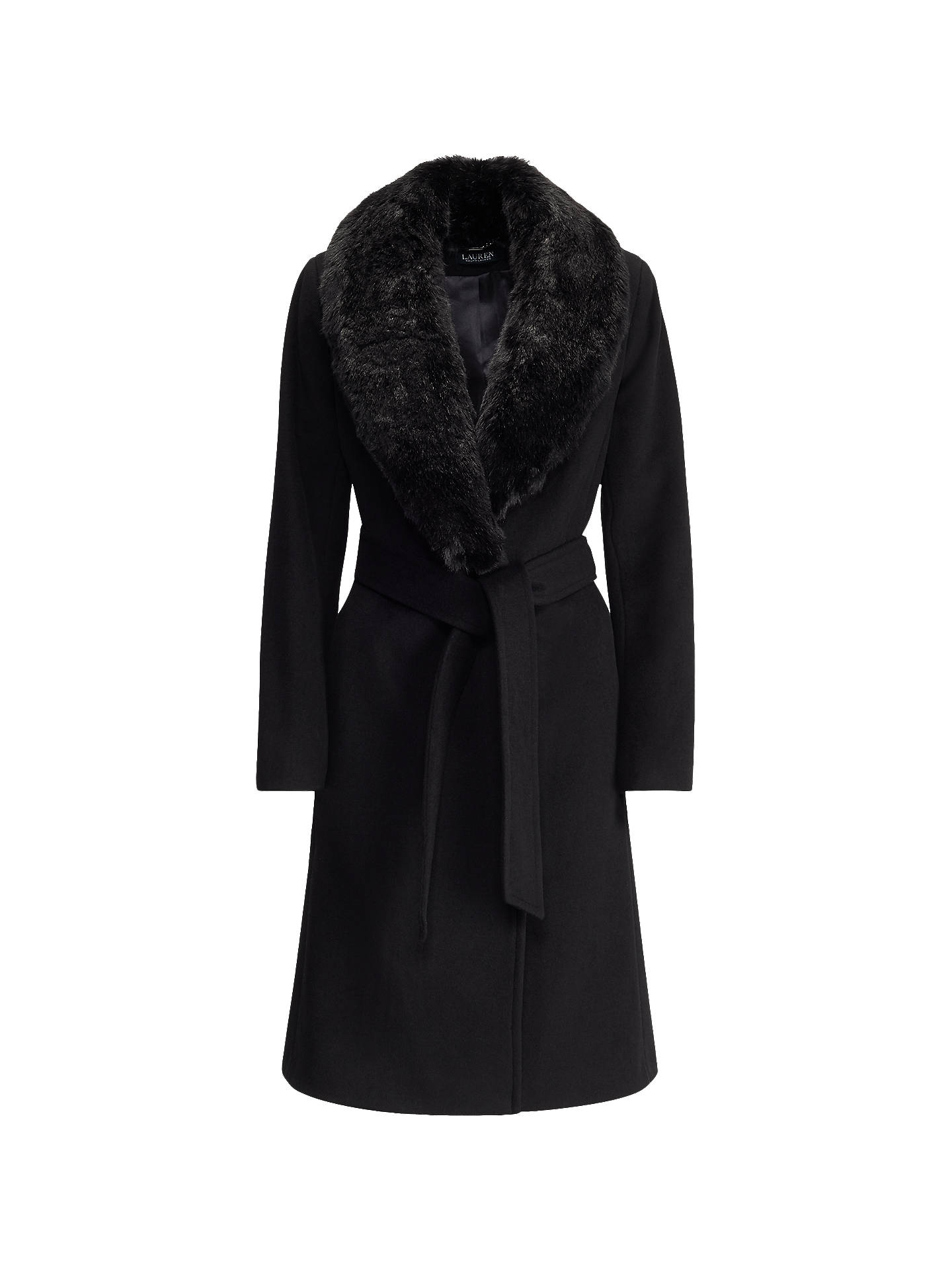c33903f0d Lauren Ralph Lauren Faux Fur Collar Wool Blend Coat, Black at John ...
