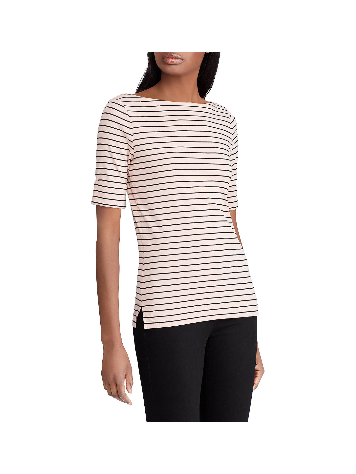 7c32f40584 Buy Lauren Ralph Lauren Judy Stripe Top, Demure Pink/Polo Black, XS Online  ...