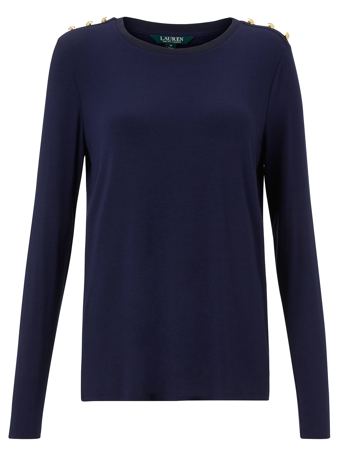 BuyPolo Ralph Lauren Kaizza Button Shoulder Top, Navy, XS Online at johnlewis.com