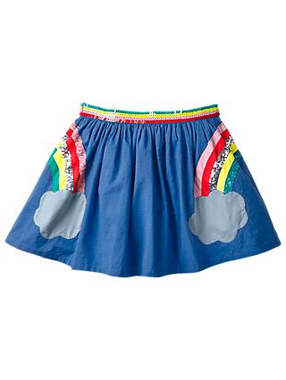 Mini Boden Girls' Applique Rainbow Skirt, Cobalt Blue