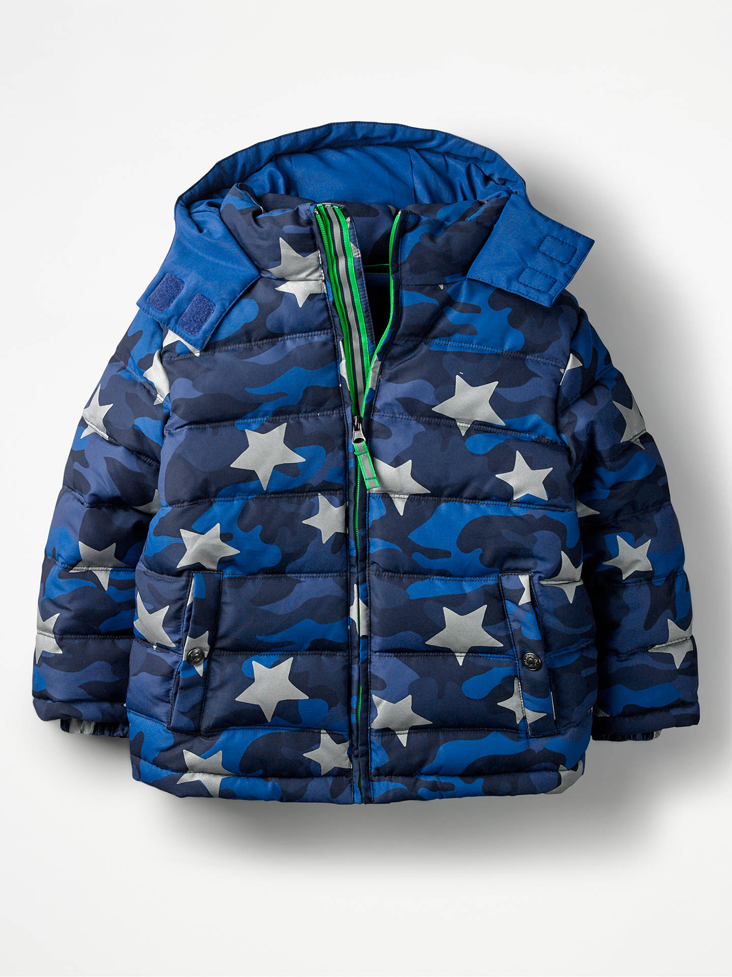 f560d3e0ea491 Mini Boden Boys' Star Print Padded Jacket, Navy at John Lewis & Partners