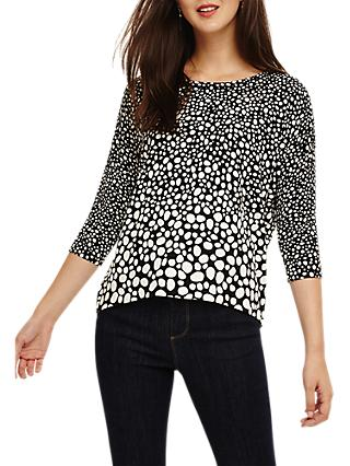 Phase Eight Piera Spot Print Top, Black/Ivory
