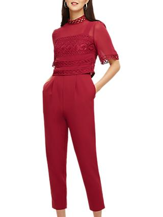 Phase Eight Lace Detail Jumpsuit, Bright Lipstick