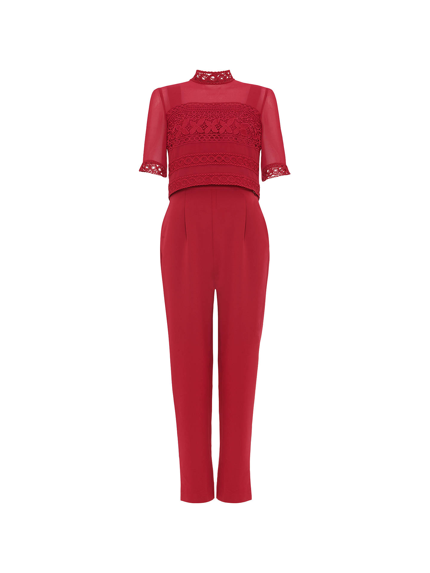 Buy Phase Eight Lace Detail Jumpsuit, Bright Lipstick, 20 Online at johnlewis.com