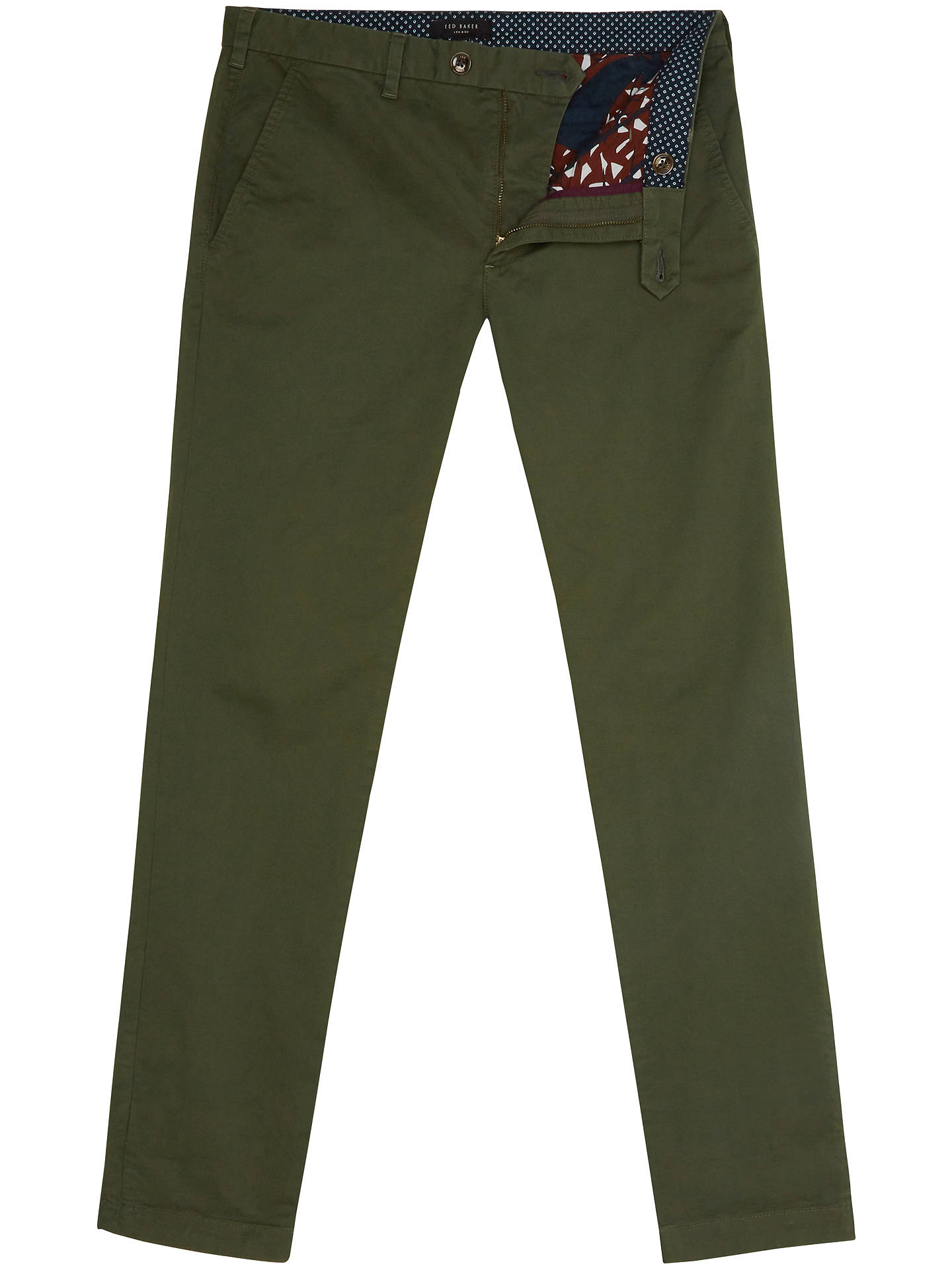 Buy Ted Baker Seleb Slim Fit Chinos, Green, 26S Online at johnlewis.com