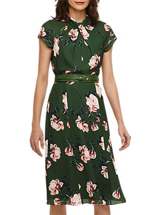 Phase Eight Helena Floral Belted Dress, Jade