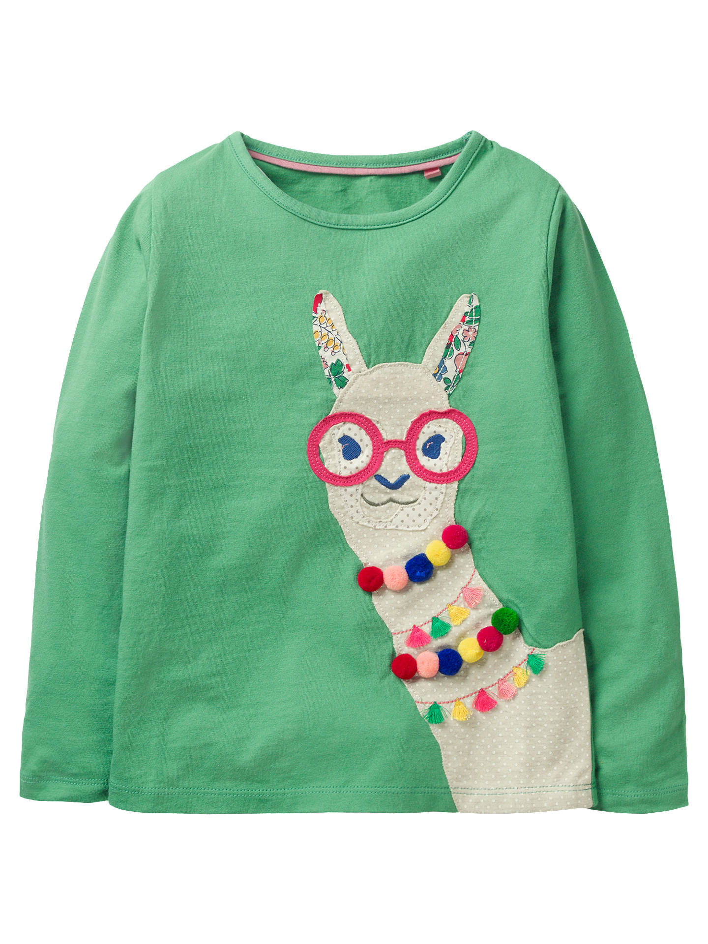944f93b1bef4cd Mini Boden Girls' Applique Llama T-Shirt, Green at John Lewis & Partners
