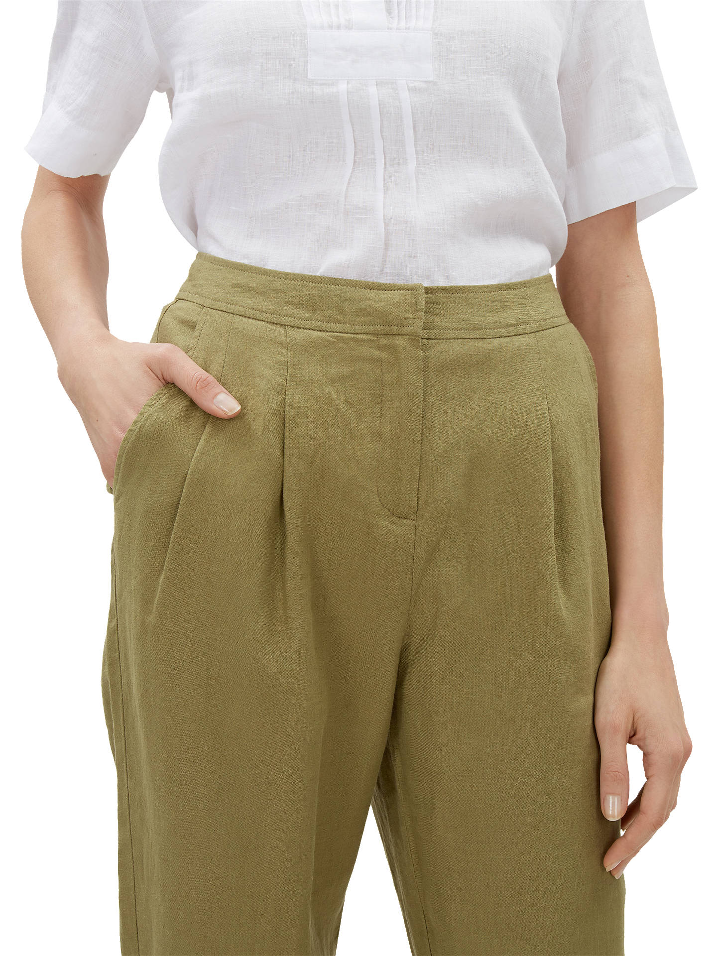 BuyJaeger Linen Peg Leg Trousers, Khaki, 14 Online at johnlewis.com