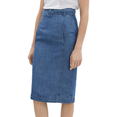 Jaeger Belted Chambray Skirt, Blue
