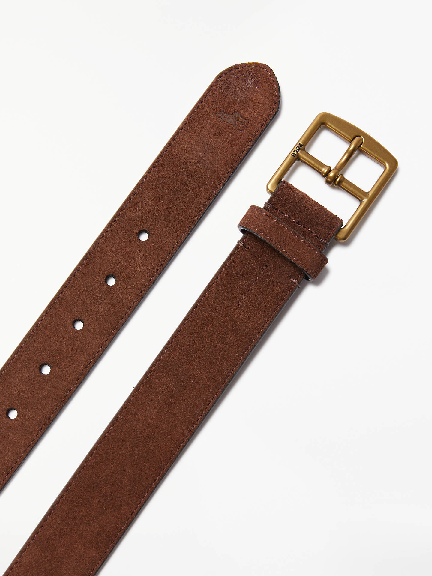BuyPolo Ralph Lauren Suede Harness Buckle Belt, Brown, S Online at johnlewis.com