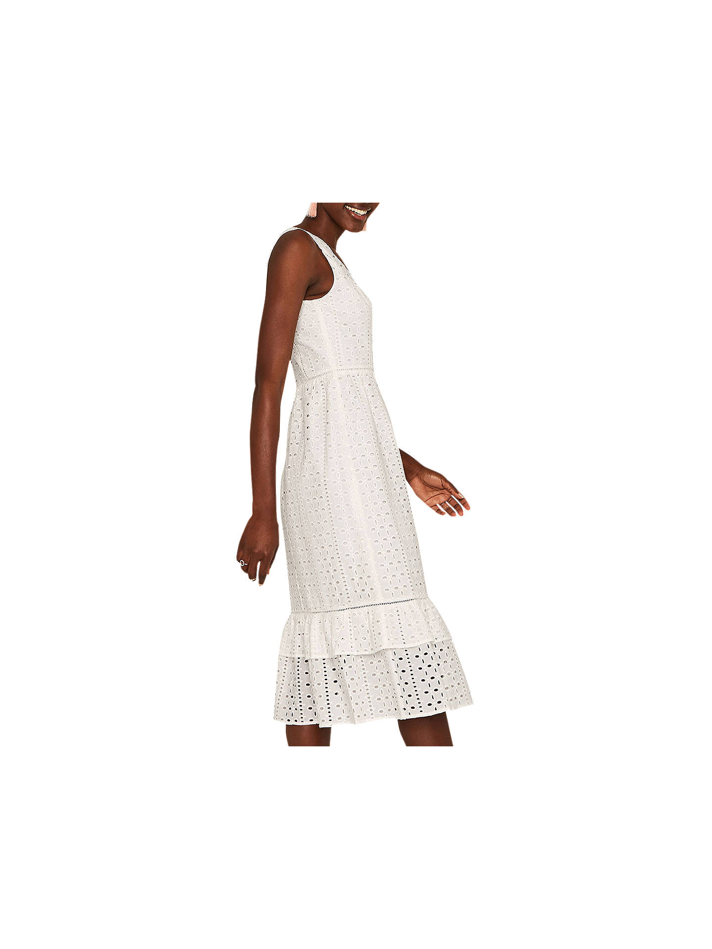 23a132f0ddac Buy Oasis Broderie Midi Dress, White, 10 Online at johnlewis.com ...