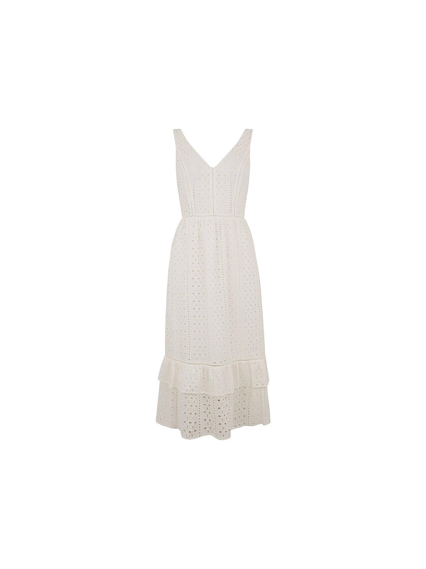 3b020efc19cf ... Buy Oasis Broderie Midi Dress, White, 10 Online at johnlewis.com ...