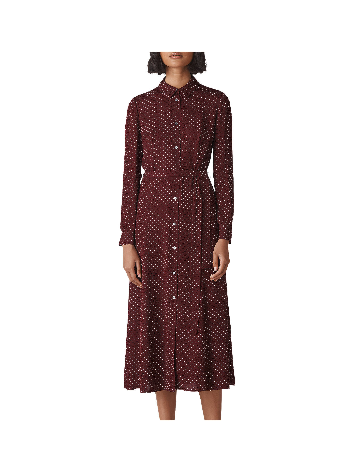 Whistles Margot Spot Shirt Dress Burgundy At John Lewis Partners
