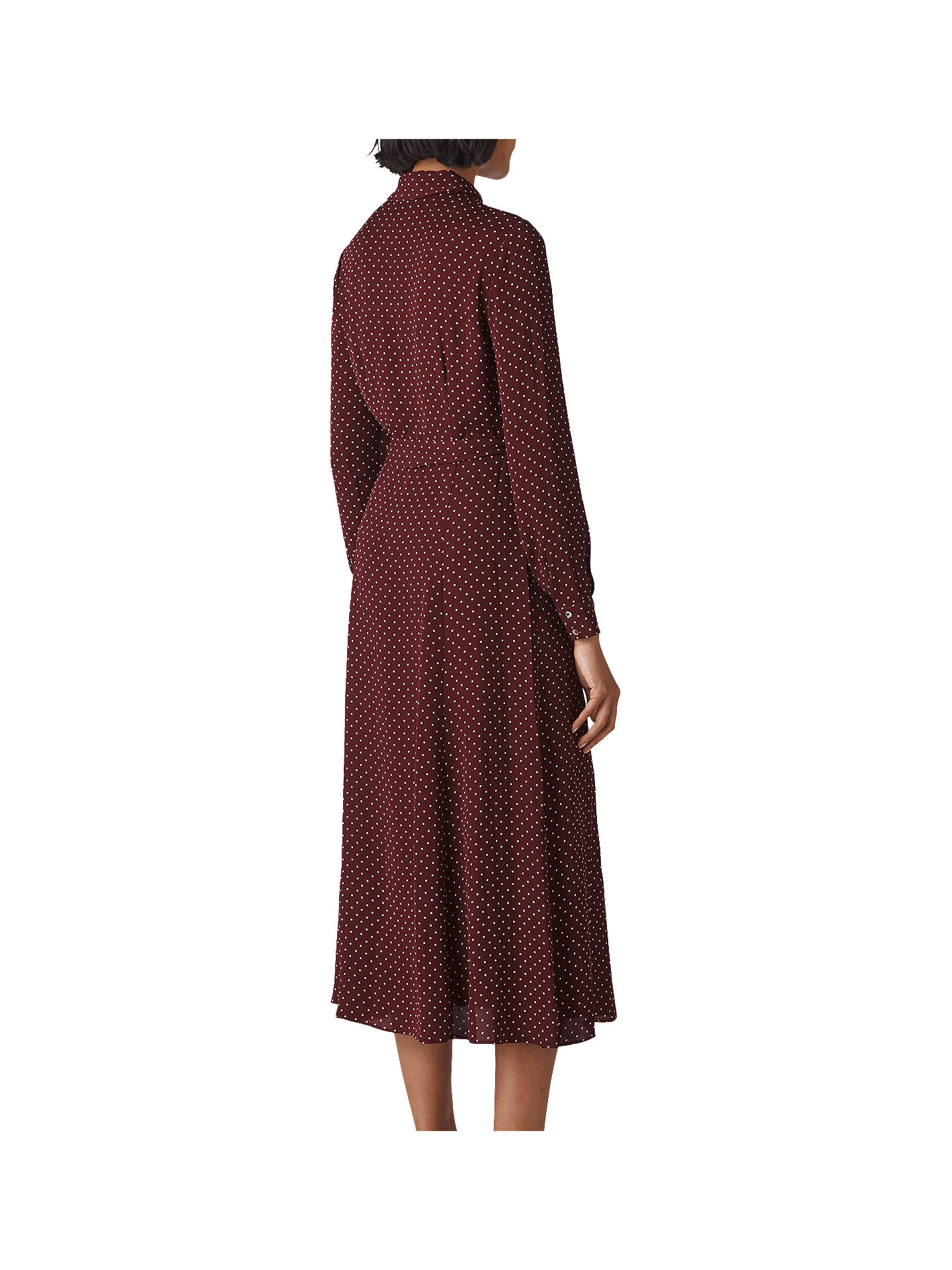 Buy Whistles Margot Spot Shirt Dress, Burgundy, 6 Online at johnlewis.com