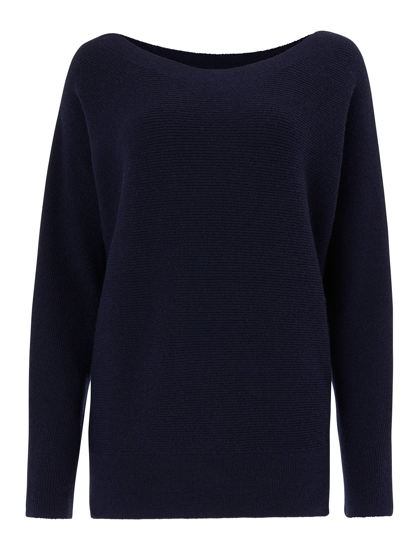 BuyJohn Lewis & Partners Dolman Sleeve Ribbed Boat Neck Jumper, Navy, 12 Online at johnlewis.com