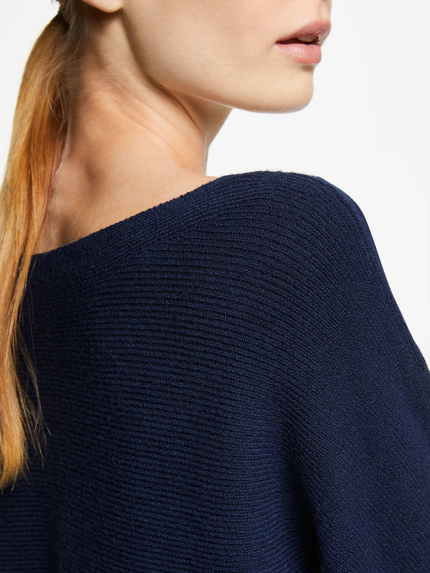 BuyJohn Lewis & Partners Dolman Sleeve Ribbed Boat Neck Jumper, Navy, 8 Online at johnlewis.com