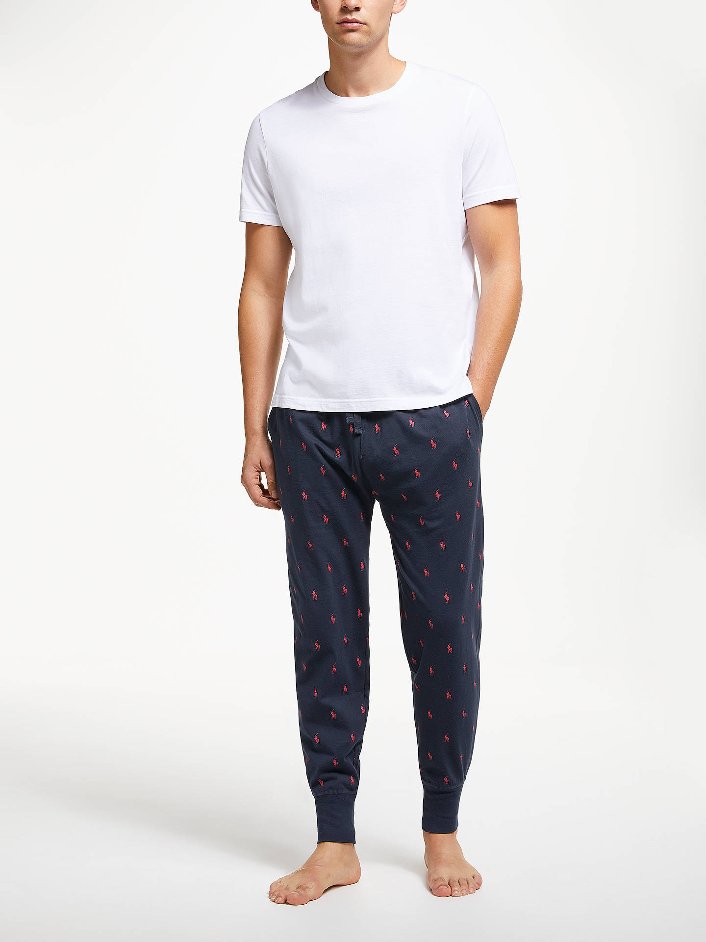 Buy Polo Ralph Lauren All Over Pony Lounge Pants, Navy, L Online at johnlewis.com