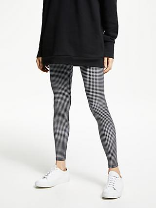 PATTERNITY + John Lewis Grid Print Leggings, Black/White