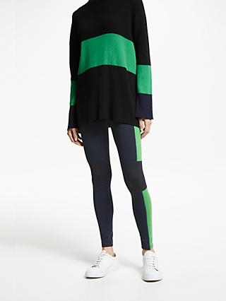 PATTERNITY + John Lewis Colour Block Panelled Leggings, Blue/Green
