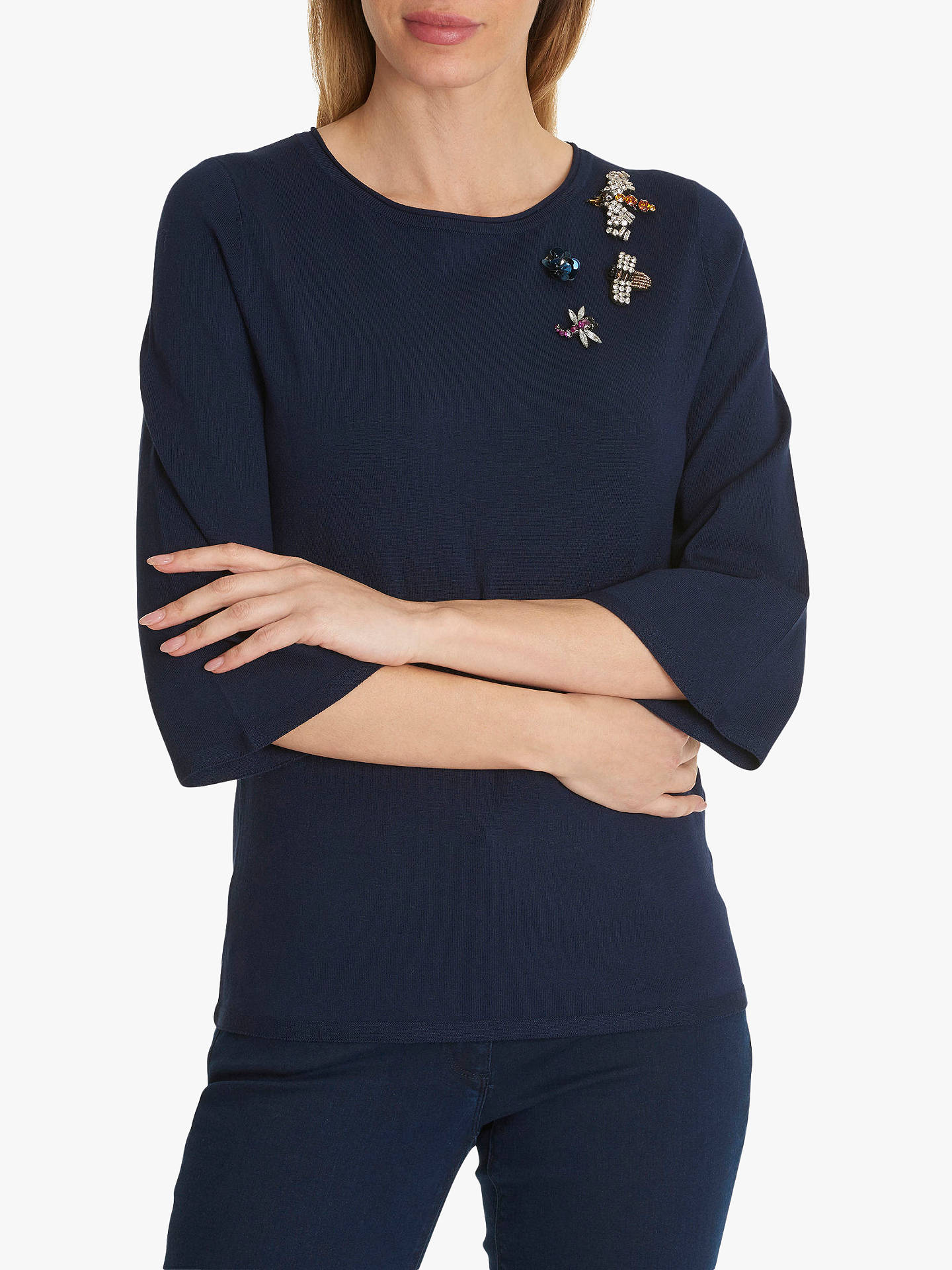 Buy Betty Barclay Fine Knit Embellished Jumper, Peacoat Blue, 10 Online at johnlewis.com