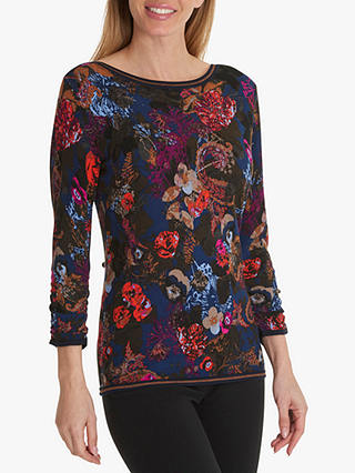 Buy Betty Barclay Floral Print Jumper, Dark Blue/Red, 16 Online at johnlewis.com